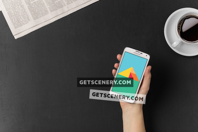Samsung Galaxy S5 Mockup Template (Morning Routine)
