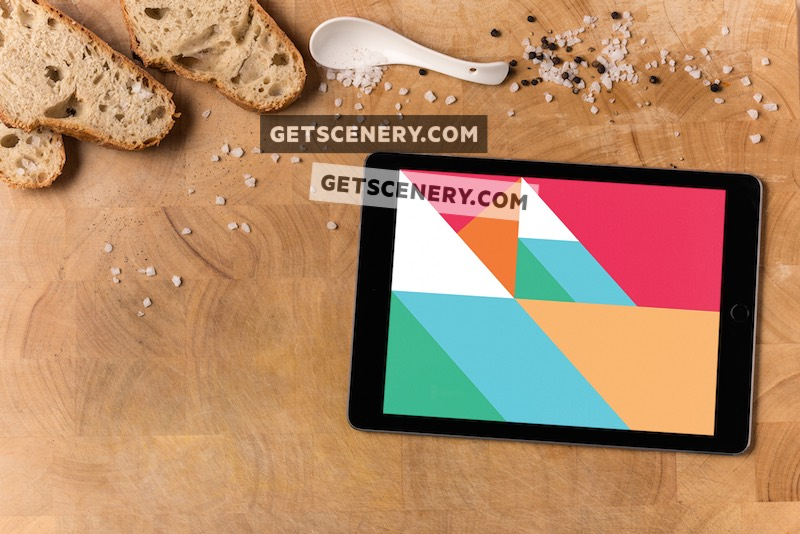 iPad Air Mockup Template (Wooden Benchtop)