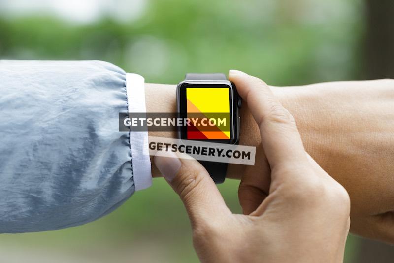 Apple Watch Sport 38mm Mockup Template (Apple Watch In Use)