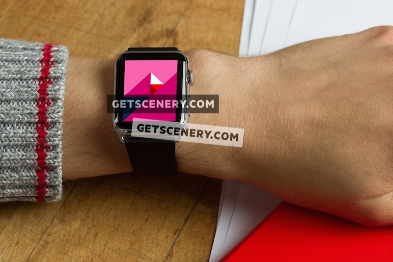 Apple Watch 42mm Mockup Template (Apple Watch In Use)
