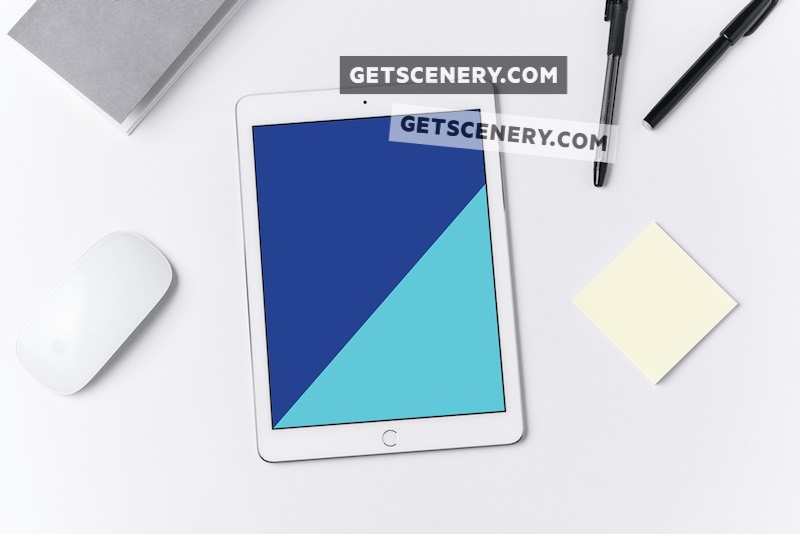 iPad Air Mockup Template (Flat White Workspace)